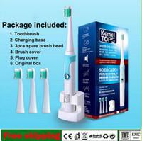 dentes ultra-sônicos venda por atacado-Nova Marca Kemei Escova de Dentes Elétrica Recarregável Ultrasonic Tooth Brush dentes Recarregável Toothbrush Uso para Crianças Adultos