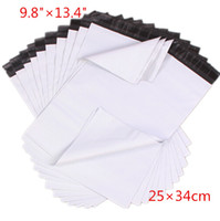 100pcs / lot 25 * 34cm weiße Express Bag Poly Mailer Post-Beutel-Umschlag selbstklebende Dichtungs-Plastiktasche High Quality