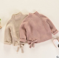 Mädchen bottomings pullover kinder hohen kragen langarm prinzessin pullover herbst winter kinder lace-up bows stricken pullover r1290