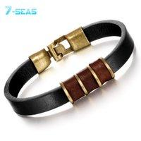 Wholesale Beaded Leather Wrap Bracelet Black - Wholesale-2015 Fashion Trendy Black Leather Man Bracelets Simple Design 215mm Anchor Men Jewelry Wholesale Braided Wrap Bracelet,PH877