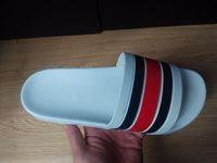 Wholesale Causal Slip Loafers Men - Men designer sandals 2018 causal rubber summer huaraches slippers loafers fashion flats leather luxury Brand slides designer sandals us 7-11