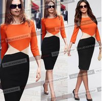Wholesale Colorblock Dresses Sale - 2015 Sale New Arrival Womens Colorblock Tunic Business Casual Wear To Work Office Party Sheath Bodycon Pencil Dress NB01357