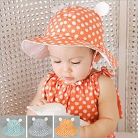 Wholesale Korean Baby Girl Summer Fashion - kids fashion hats, Korean version of the summer new dot cute cartoon baby sun cloth caps, girls sweet princess sun hat, 10pcs lot, dandys