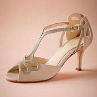 zapatos del banquete de boda del brillo peep toep al por mayor-Blush Zapatos de boda de tacón bajo Hollow Out Peep Toe Sandalias nupciales para mujer Hebilla 4