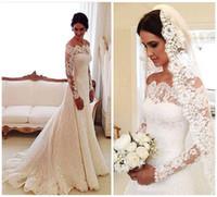 Discount vestidos wedding dress lace - 2016 Vestidos De Novia Lace Wedding Dresses Off Shoulder Applique A Line Pleats Long Sleeves Vintage Bridal Gowns With Buttons Back