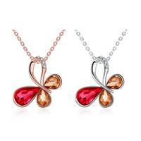Wholesale Czech Diamond Heart Pendant - Hi-Q Rose White Gold Necklace Czech Diamond Butterfly Charms Pendant Rhinestone Brand Pendant Necklace for Women Girls