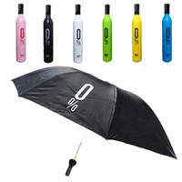 Wholesale Personalized Wine Bottles - Fashion Wine Bottle Umbrella Novelty Design Sunshade Umbrella Personalized Clear Rain Umbrella