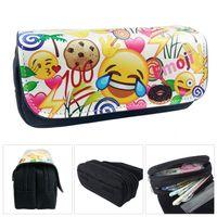 Wholesale Orange Pencil Case - 5 colors Emoji printing PU Pencil Case Kids fashion pen Bag cartoon expression Pencil Bags 20x9x6.5cm boys girls xmas gifts