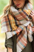 Wholesale Cozy Wrap Blanket - new 2016Lady Women Blanket Oversized Tartan Scarf Wrap Shawl orange colours Plaid Cozy Checked Pashmina autumn winter spring scarf