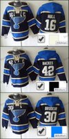 Wholesale Dry Laces - Factory Outlet, Old Time Hockey St. Louis Blues #16 Brett Hull #30 martin brodeur #42 david backes Lace Jersey Fleece Hoodie Sweatshirts Blu