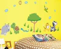 Wholesale Girls Removable Wall Art Stickers - Cartoon 3d Animals Tree PVC wall sticker for kids rooms boys girls home decor child sticker wall art decals decoration Removable