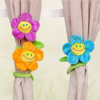 Wholesale Finger Clamps - Wholesale- Cartoon curtain clip plush flower flexible tieback clamps for girl toys to home decor lovely gift lots to the wholesale