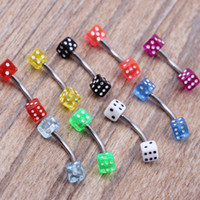 Wholesale Dice Eyebrow - E13 dice eyebrow banana ring wholesales 50pcs lot mix 8 color body piercing jewelry lip piercing eyebrow stud