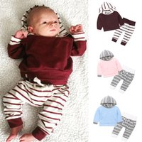 Wholesale Cheap Kids Clothing Sets - ins Baby Sets Long Sleeved Hooded T-shirts Cotton Striped Leggings Pants 2pcs Suits Spring Autumn Kids Clothing Cheap Free DHL 382