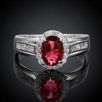 Wholesale 925 Ring Swarovski - Rings for Women Wedding Diamond Engagement Ring 925 Sterling Silver Plated Cubic Zirconia Sapphire Swarovski Austrian Crystal Gemstone Rings