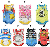 Wholesale 2015 summer New arrival baby s clothes infant cute rompers cartoon dot stripe flower Mickey winnie cotton one piece