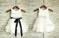 ingrosso passo pasquale-Taffeta Ruffle Flower Girl Dress / Blu Navy Sash Wedding Easter Junior Damigella battesimo Baby Infant Bambini Toddler Vestito bambini