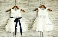 ostern schärpe großhandel-Taft Rüsche Blumenmädchen Kleid / Marineblau Schärpe Hochzeit Ostern Junior Brautjungfer Taufe Baby Kleinkinder Kleinkind Kinder Kleid