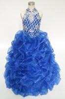 elbise 6 m toptan satış-Vintage Kraliyet Mavi Çiçek Kız Elbise Düğün Için Rhinestones Boncuklu Yüksek Boyun Ruffles Gençler Pageant Abiye Stokta Ucuz