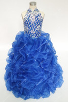 ingrosso abiti da ballo abito da sera-Vintage Royal Blue Flower Girls Abiti per matrimoni con strass Perline Collo alto Ruffles Teens Pageant Ball Gowns Stock A basso costo