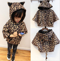 Wholesale Outwear Tail - Wholesale -Winter Kids Coat Outwear Girl Leopard Jacket with Hat Children Long Tail Coat