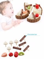 Wholesale Mini Birthday Cakes - 2017 hot sale Pretend Food Play Invisible Magnetic Wooden Mini Birthday Cake Pretend Play Children Early Educational Playing Toys Kids Gifts
