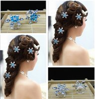 Wholesale Korea Party Fashion - Snowflake Frozen Hair 2015 Bride Hair Accessories Diamond Spiral Hair Clips Wedding Accesories Korea Vintage Fashion Hair Jewelry m619