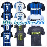 Wholesale Milan Home - Top Thai quality 17 18 Inter home soccer jersey 2017 2018 J.MARIO ICARDI PERISIC KONDOGBIA B.VALERO CANDREVA Milan away white football shirt