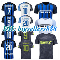 16919462f Top Thai quality 17 18 Inter home soccer jersey 2017 2018 J.MARIO ICARDI  PERISIC KONDOGBIA B.VALERO CANDREVA Milan away white football shirt ...