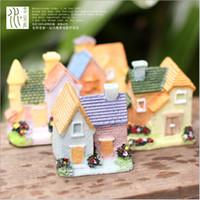 ingrosso miniature buildings-8 pz / lotto ville artificiali edifici fata giardino in miniatura gnome moss terrario decor mestieri della resina bonsai home decor per fai da te zakka