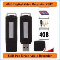 unidades flash ocultas al por mayor-2 en 1 Mini 4 GB USB Pen Flash Drive Disco Digital Ocultar Audio Grabadora de voz 70 horas Grabado con sonido Dictaphone VR302