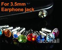 Wholesale Dustproof Plug Cellphone - Universal 3.5mm Crystal Diamond Anti Dust Plug Dustproof Earphone Jack for iPhone 3G 4G 4S iPad Samsung HTC Xiaomi Cellphone Smartphone