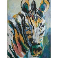 lona de pintura a óleo de zebra venda por atacado-100% pintado à mão dos desenhos animados animais selvagem zebra pintura a óleo sobre tela mural art desenho para home office wall decor