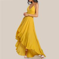 Wholesale Double V Cocktail Dress - Elegant Cocktail Dress Yellow Chiffon Vestido barato Hi-low Double Spaghetti Party Gowns Special Occasion Dresses V-neck Short Style EZ025
