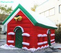 anúncio do natal venda por atacado-6m que anuncia o alojamento inflável do Natal do Natal vermelho casa de campo com sinos