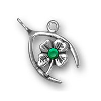 Nova chegada Hot Christmans Gift Zinc Alloy Antique Silver Plated Green Crystal Wishbone Clover Bom Locky Charm For Jewelry Findings