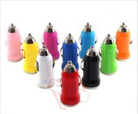 Wholesale car bullets online - New Colorful Bullet Mini USB Car Charger Universal Adapter For iphone S plus Cell Phone PDA MP3 MP4 player mobile i9500 S6 Htc LG