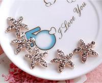 17 mm düğmeler toptan satış-50 adet 17mm Kristal Denizyıldızı Boncuk Düğmeleri Scrapbooking Craft Saç Klip Dekor Için
