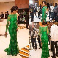 Wholesale Gorgeous Elegant Evening Long Dresses - New Elegant Red Carpet Miss Nigeria Gorgeous Green Lace Celebrity Dresses Sheer Scoop Long Sleeves Trumpet Mermaid Evening Formal Gowns