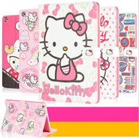 Wholesale Cartoon Screen - Cute Cartoon Hello Kitty KT Cat Flip Magnetic Stand Leather Case Smart Cover With Sleep Wake Up For iPad 2 3 4 5 6 Air Air2 Mini Mini3