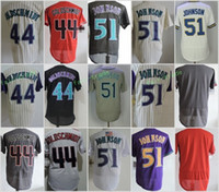 Johnson Gris Baratos-Arizona # 44 Paul Goldschmidt 51 Randy Johnson Jerseys en blanco de la base flexible Base fresca retrocesada Stitched Rojo Blanco Beige Púrpura Gris
