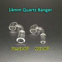 Wholesale Hookah For Sale Wholesale - 2mm Quartz Banger Female Male 90 angle Quartz Banger nail Domeless Nail 10mm 14mm 18mm Quartz Domeless Nails Hookahs For Sale