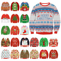 Wholesale Womens Off Shoulder Sweaters - Xmas Unisex 2017 UGLY CHRISTMAS SWEATER Vacation Santa Elf Funny Womens Men Sweaters Tops Autumn Winter Clothing Sweaters