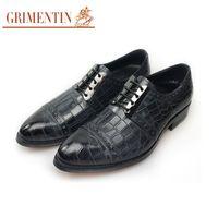 Wholesale S16 Dresses - GRIMENTIN luxury men shoes 2018 designer black formal business shoes genuine leather lace-up men oxfords size:38-44 S16