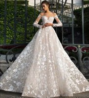 Wholesale nova summer t shirt resale online - 2018 Milla Nova Illusion Bodices A Line Wedding Dresses Sheer Neck Long Sleeves Full Lace Appliques Sexy Backless Bridal Gowns Custom Made