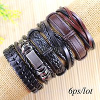 Wholesale Tribal Bracelets For Men - Free shipping wholesale (6pcs lot) cool mental bangles ethnic tribal genuine adjustable leather bracelet for men-L22