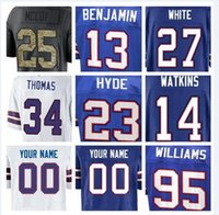 Maglia Buffalo Kelvin Benjamin Bills Jim Kelly Tyrod Taylor Zay Jones Thurman Thomas Tre'Davious Maglia da football americano bianca a buon mercato xxxl