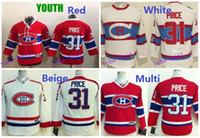 canadiens hockey jersey for kids achat en gros de-2016 Boys Montreal Canadiens Jeunes Hockey Maillots # 31 Carey Price Jersey Enfants Accueil rouge Carey Price Cheap Stitched Jerseys