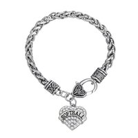 joyería encantos softbol al por mayor-Regalo Moda Fitness Culturismo Chapado SOFTBOL Rhinestone Mixcolor Crystal Heart Charm Bracelets For Women Jewelry Rhodium