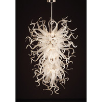 Longree Large e Luxo Branco Hand Blown Glass Hotel Lobby Decor Chihuly Candelabro suspenso vidro leve